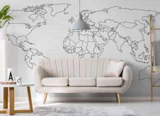 Fototapeta z mapą świata – dekoracja, która zaprowadzi Cię do aranżacji marzeń